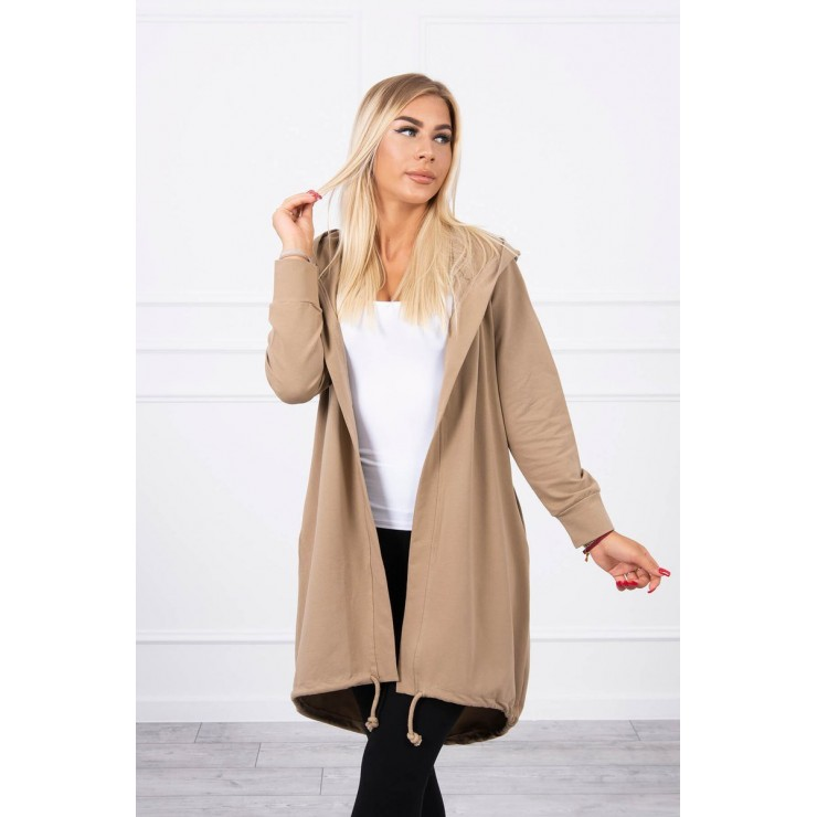 Long cardigan with hood LOVE MI9113 camel
