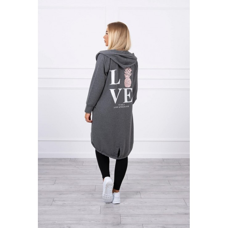 Long cardigan with hood LOVE MI9113 dark gray