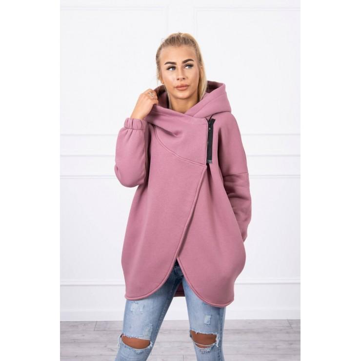 Women's sweatshirt with short zipper MI9110 dark pink