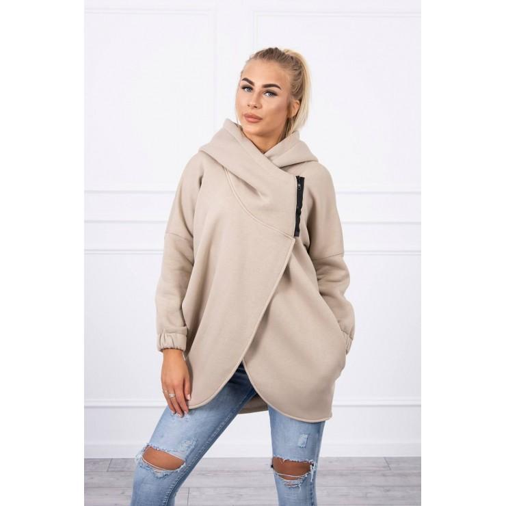 Women's sweatshirt with short zipper MI9110 beige