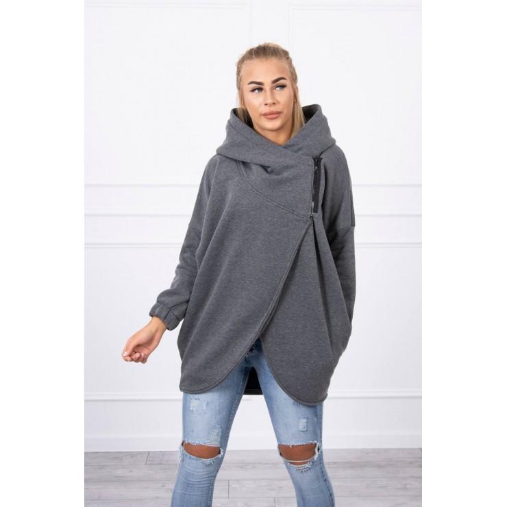 Women's sweatshirt with short zipper MI9110 light graphite