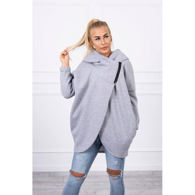 Women's sweatshirt with short zipper MI9110 gray