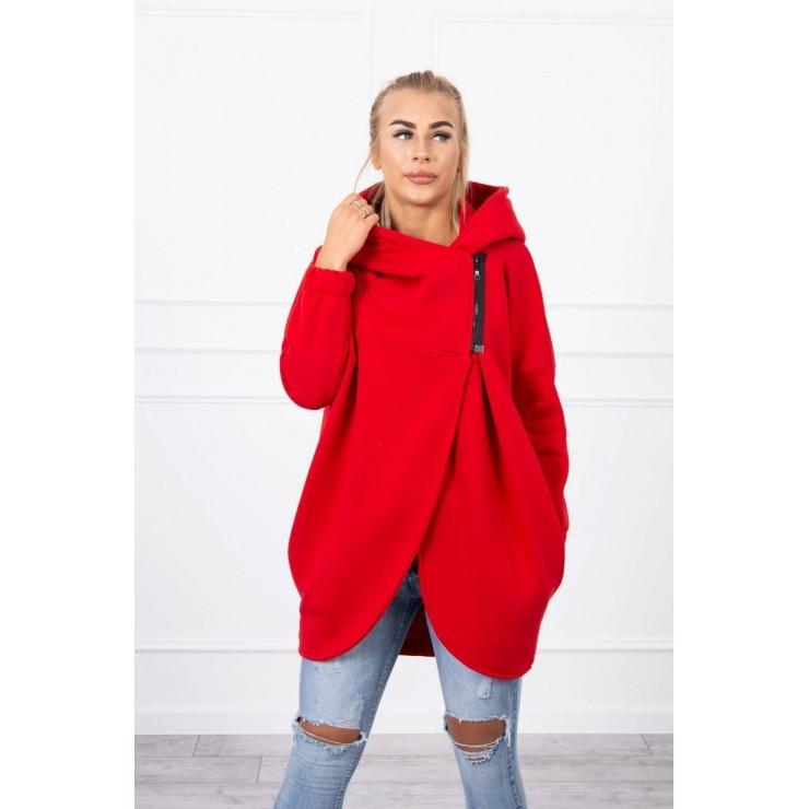 Women's sweatshirt with short zipper MI9110 red