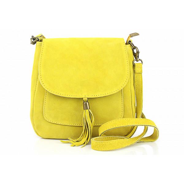 Kožená kabelka na rameno 1147 žltá Žltá