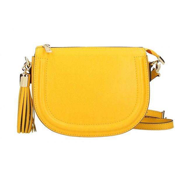 Žltá kožená kabelka na rameno 1021