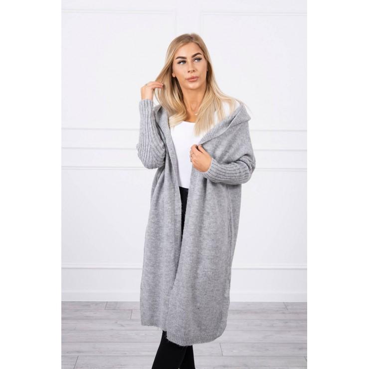 Dámsky sveter s kapucňou MI2020-14 šedý
