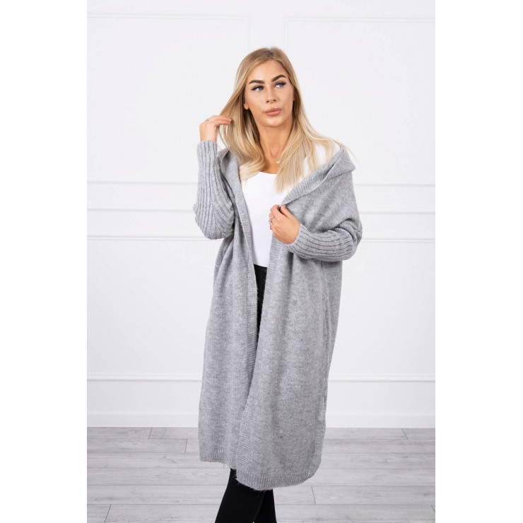 Sweater with hood MI2020-14 gray