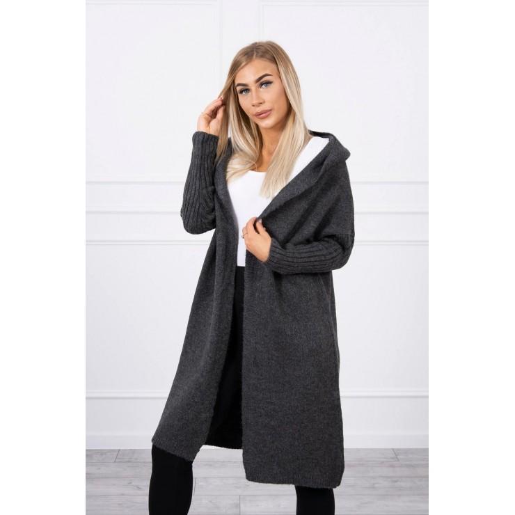 Dámsky sveter s kapucňou MI2020-14 grafitový