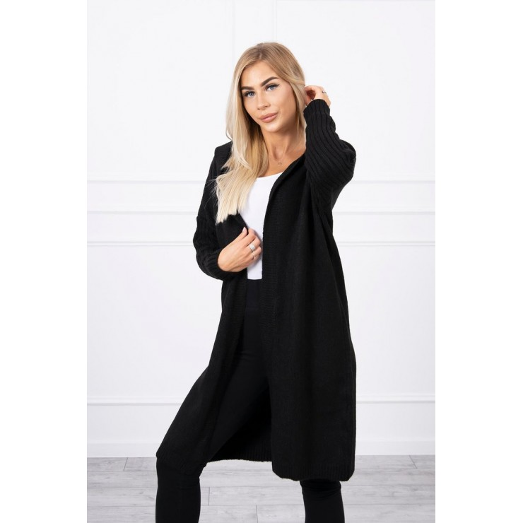 Dámsky sveter s kapucňou MI2020-14 čierny