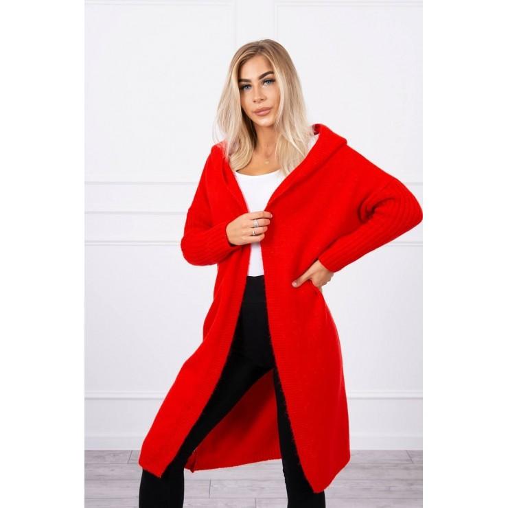 Dámsky sveter s kapucňou MI2020-14 červený
