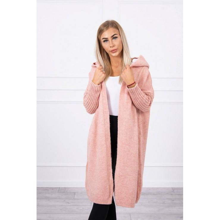 Dámsky sveter s kapucňou MI2020-14 pudrovo ružový