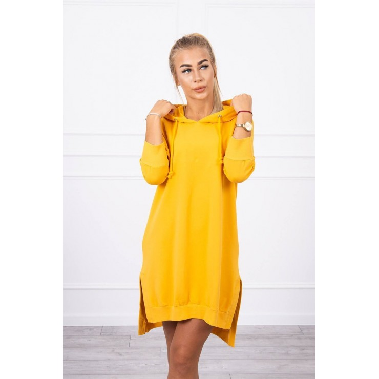 Dress with extended back and with e hood MI9078 mustard