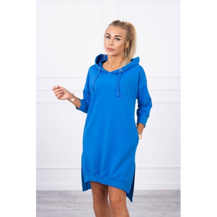Šaty s prodlouženou zadní stranou a kapucí MI9078 azurově modré