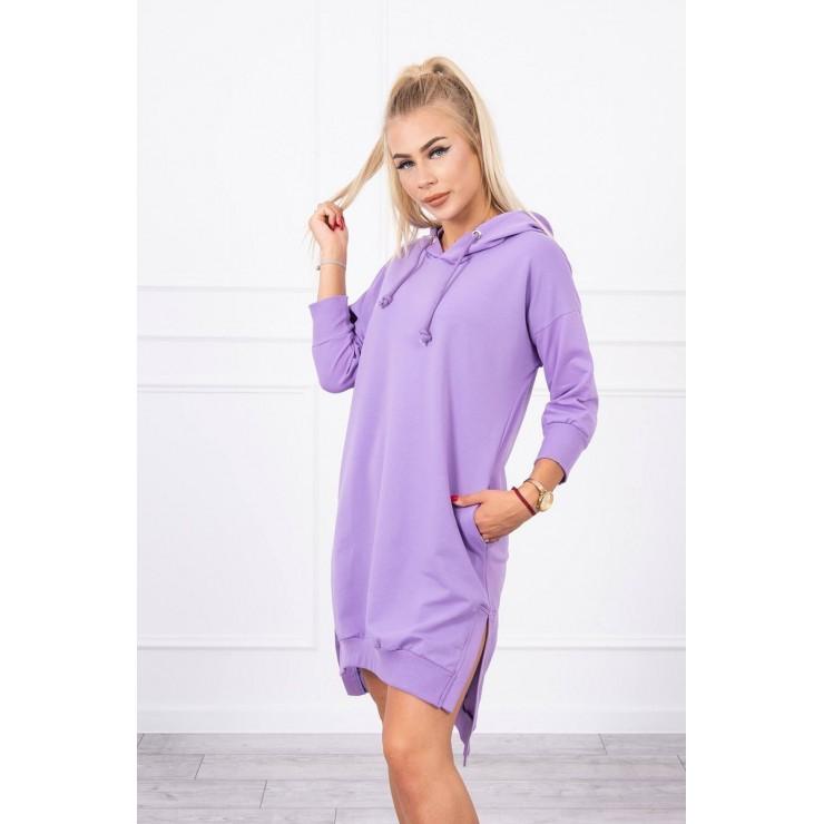 Šaty s prodlouženou zadní stranou a kapucí MI9078 fialové