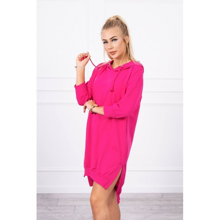Dress with extended back and with e hood MI9078 fuxia
