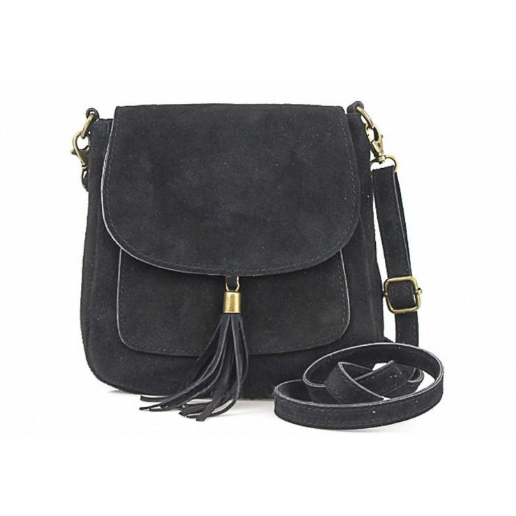 Kožená kabelka na rameno 1147 čierna