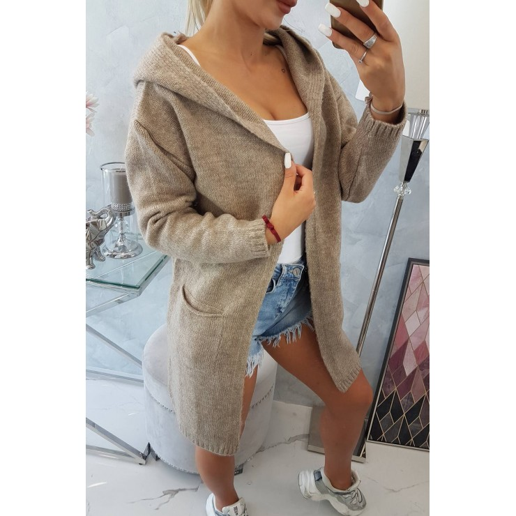 Dámsky sveter s kapucňou MI2020-10 tmavobéžový