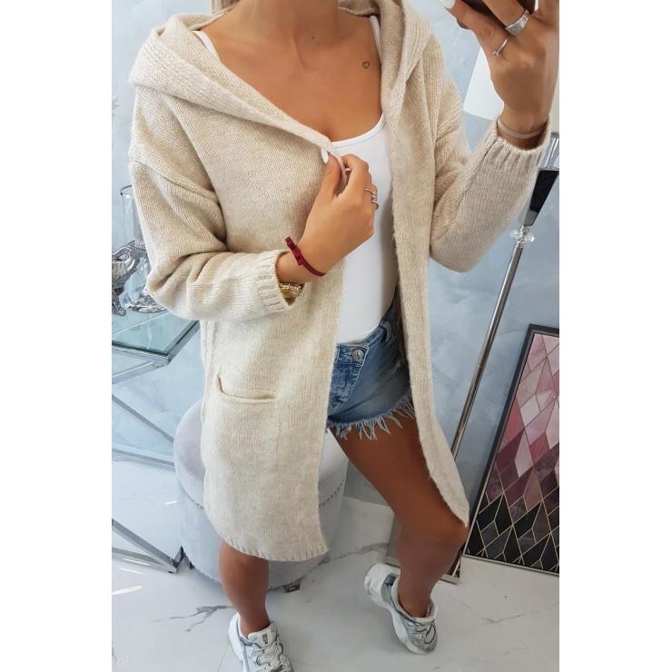 Dámsky sveter s kapucňou MI2020-10 svetlobéžový