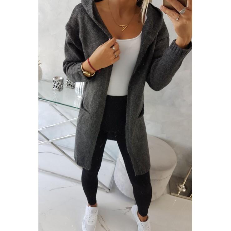 Dámsky sveter s kapucňou MI2020-10 tmavošedý
