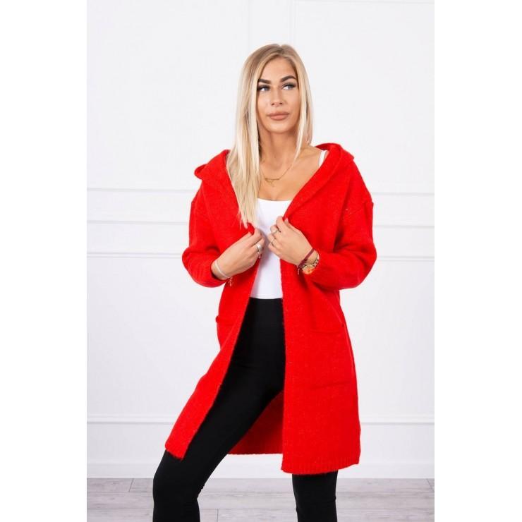 Dámsky sveter s kapucňou MI2020-10 červený