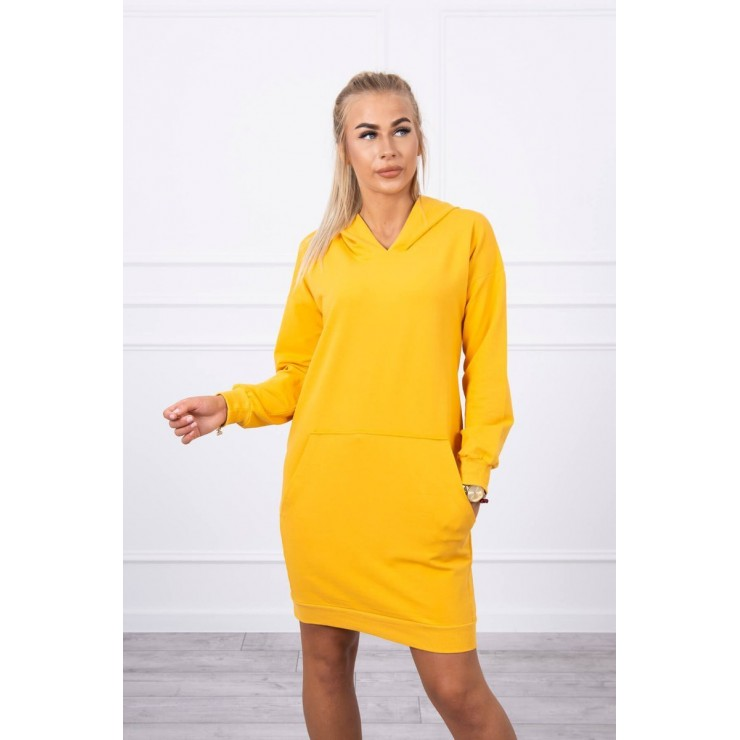 Dress with hood MI67292 mustard