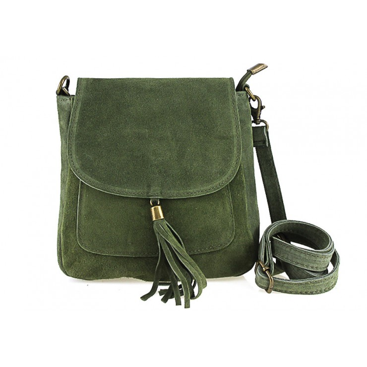 Kožená kabelka na rameno 1147 vojenská zelená