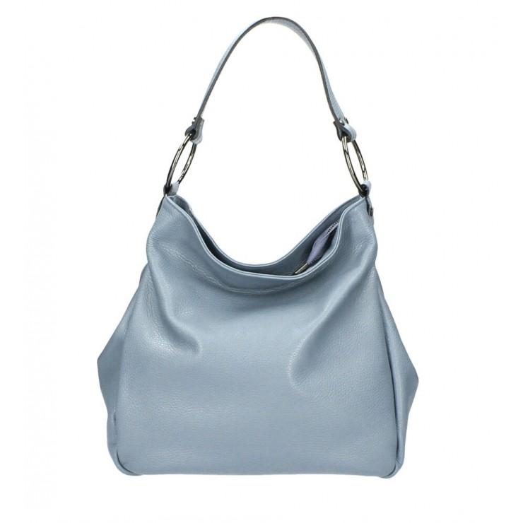 Kožená kabelka 1081 blankytne modrá Made in Italy