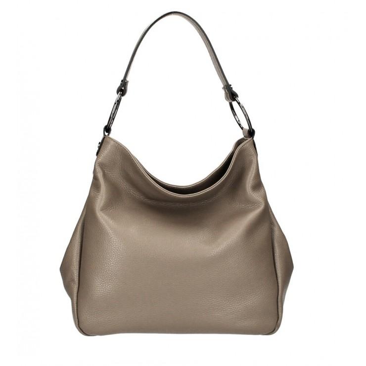 Kožená kabelka 1081 tmavá šedohnedá Made in Italy
