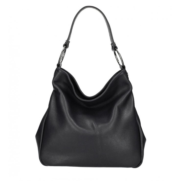 Kožená kabelka 1081 čierna Made in Italy