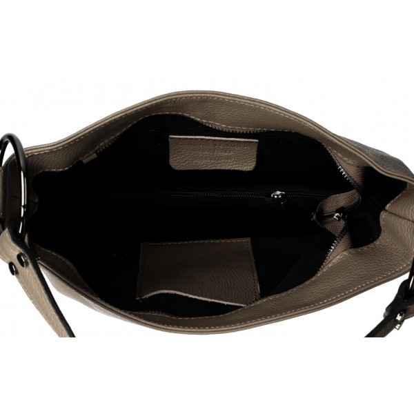 Kožená kabelka 1081 čierna Made in Italy Čierna