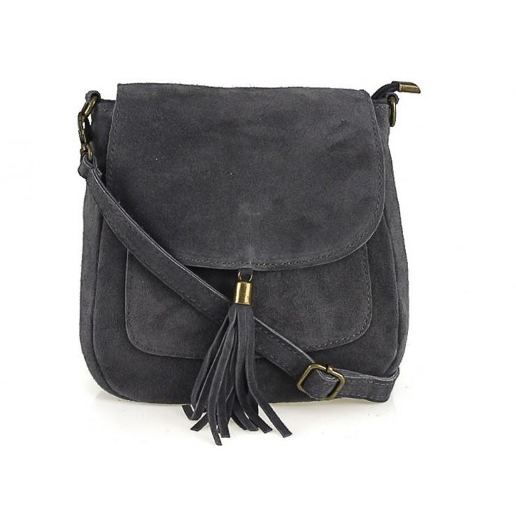 Genuine Leather Handbag 1147 dark gray