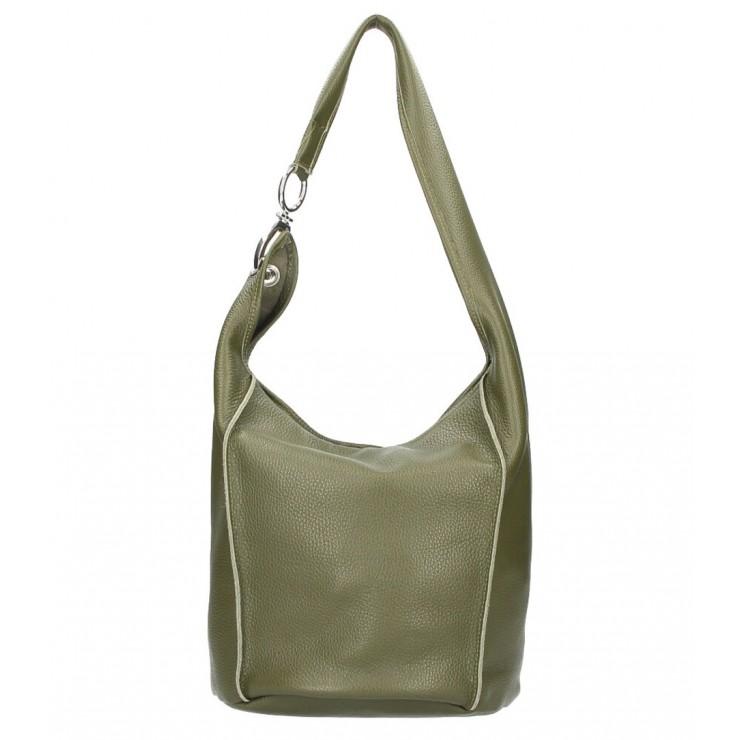 Kožená kabelka na rameno 1223 Made in Italy vojenska zelená
