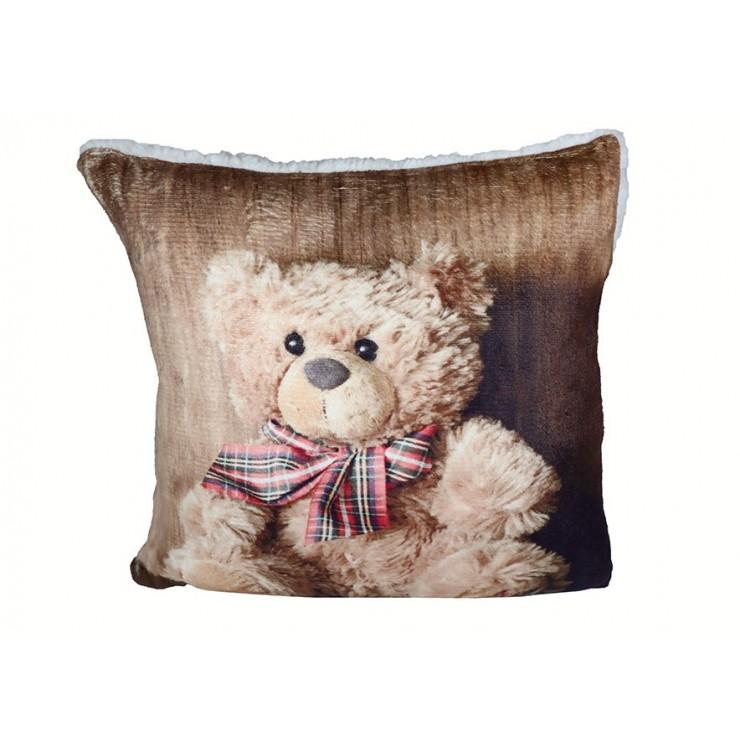 Vankúš zateplený Plyšový medvedík s mašľou 40x40 cm
