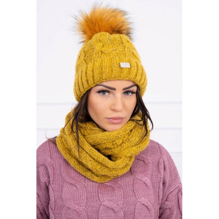 Women's Winter Set hat and scarf  MIK127 mustard