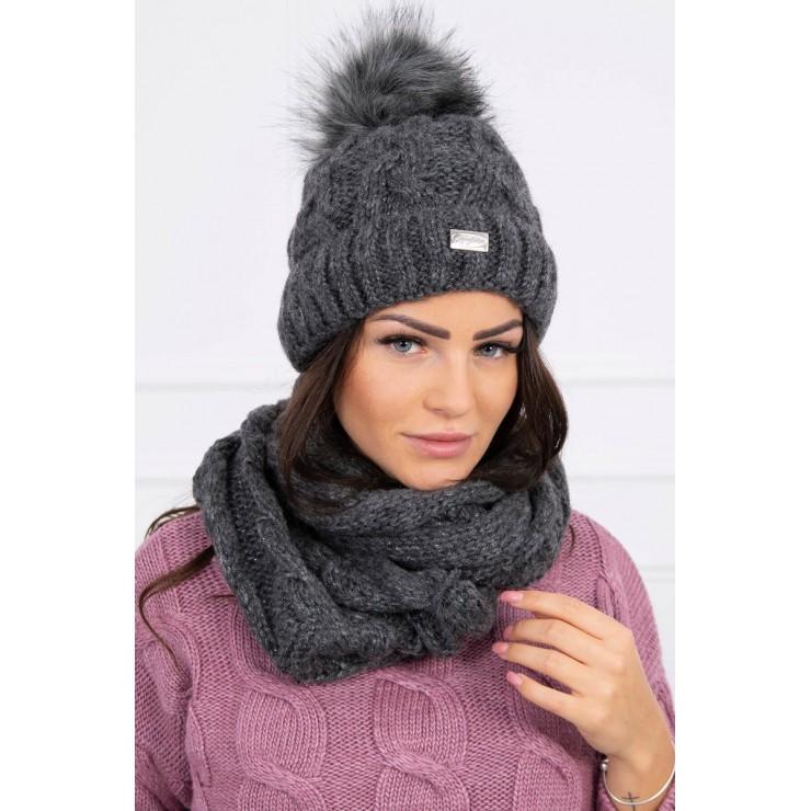 Women's Winter Set hat and scarf  MIK127 graphite
