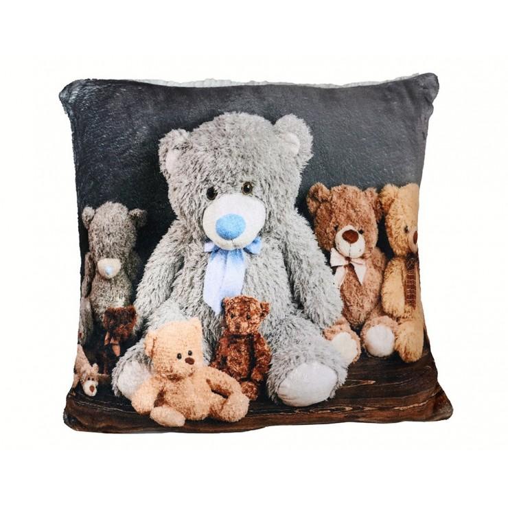 Vankúš zateplený Plyšoví medvedíci rodinka 40x40 cm