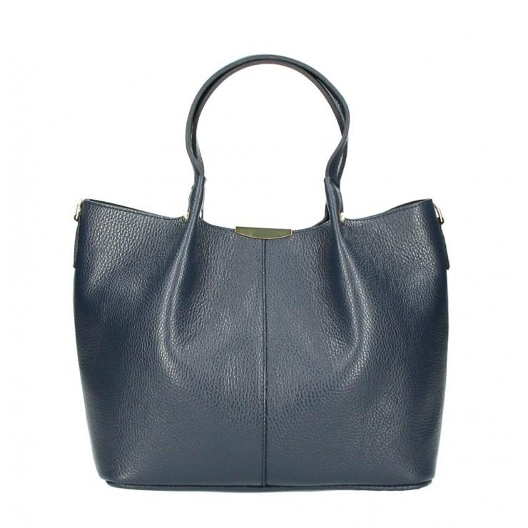 Genuine Leather Handbag 372 Made in Italy blue navy
