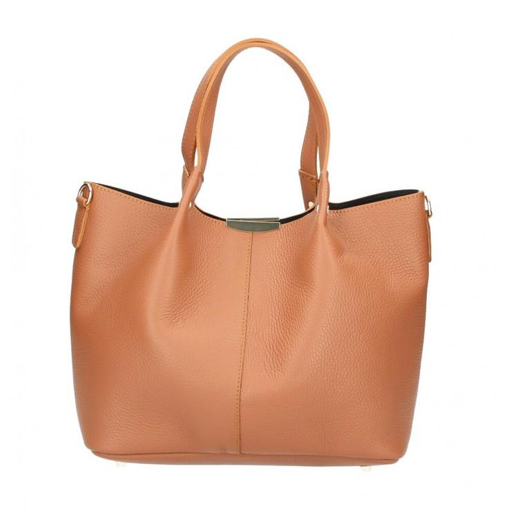 Genuine Leather Handbag 372 Made in Italy cognac