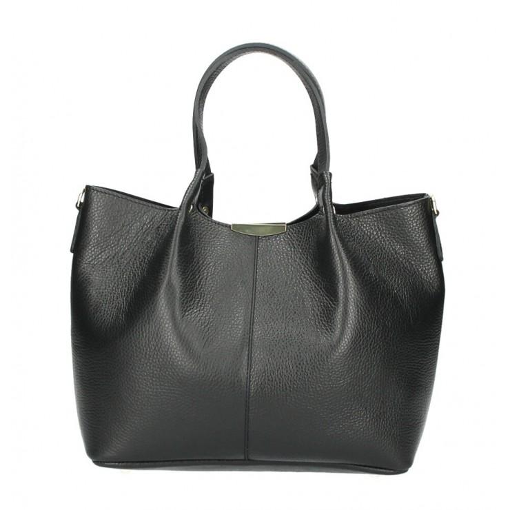 Kožená kabelka 372 čierna Made in Italy