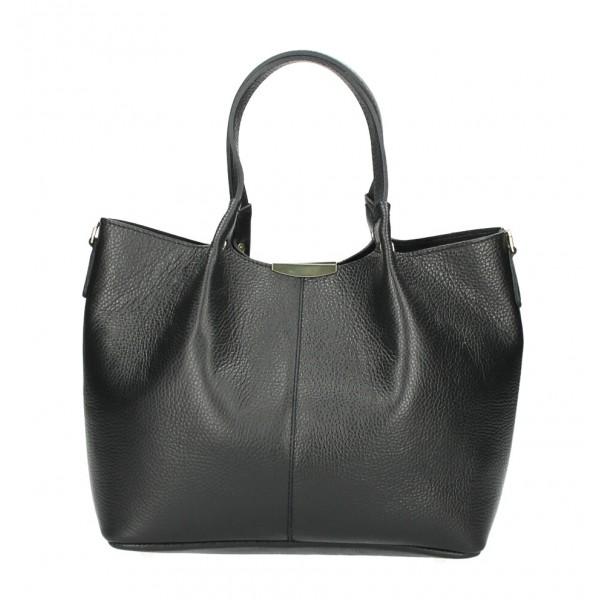 Kožená kabelka 372 čierna Made in Italy Čierna