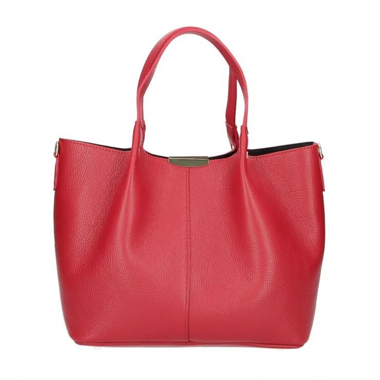 Kožená kabelka 372 červená Made in Italy