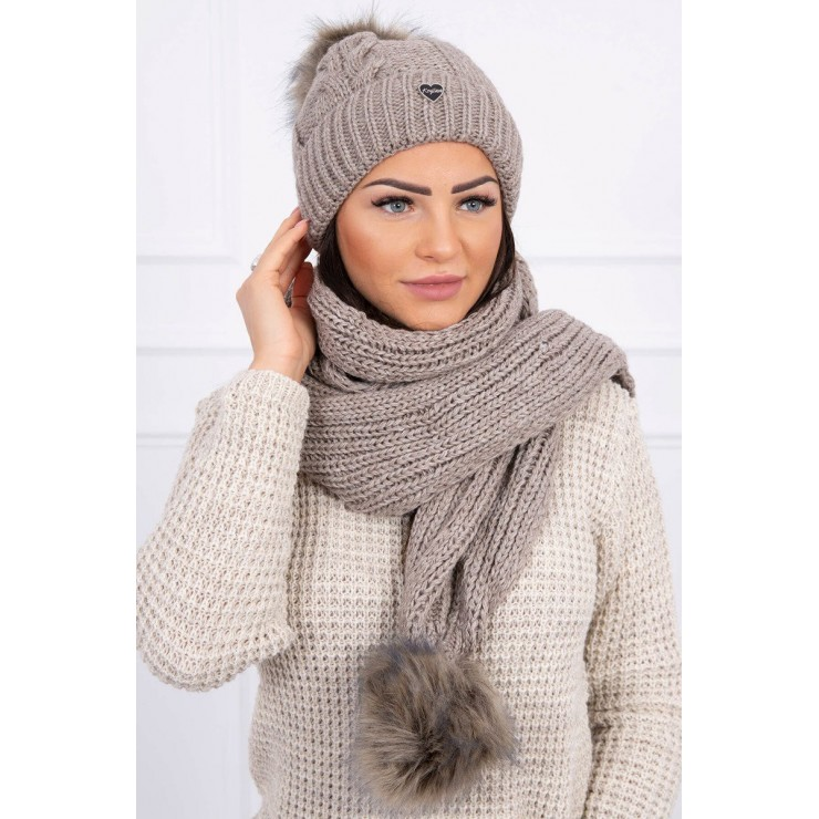 Women's Winter Set hat and scarf  K121 dark beige