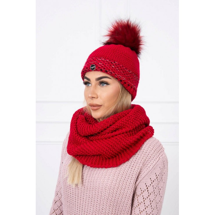 Women's Winter Set hat and scarf  MIK126 red