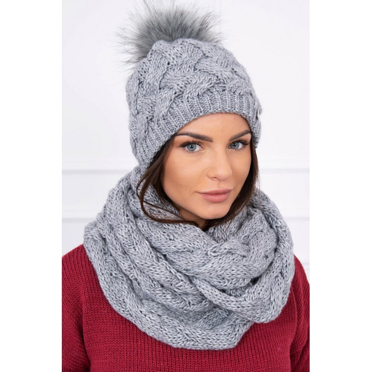 Women's Winter Set hat and scarf  MIK112 dark gray