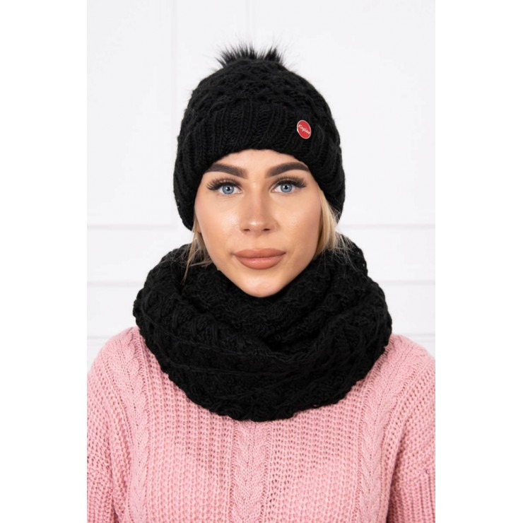 Women's Winter Set hat and scarf  MIK135 black