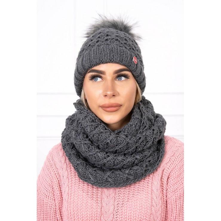 Women's Winter Set hat and scarf  MIK135 graphite