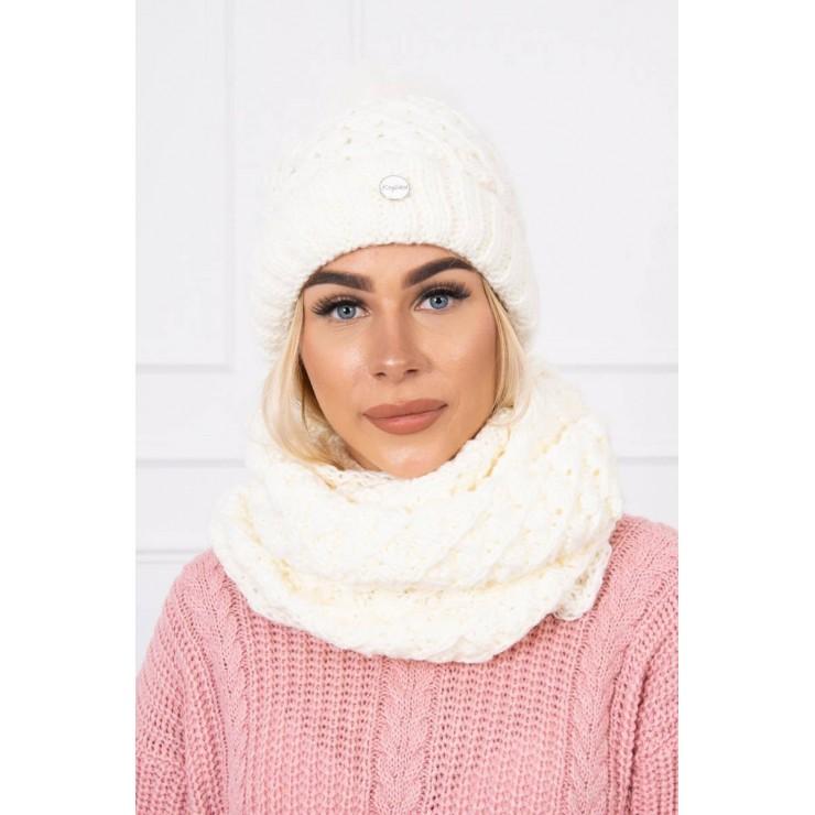 Women's Winter Set hat and scarf  MIK135 cream
