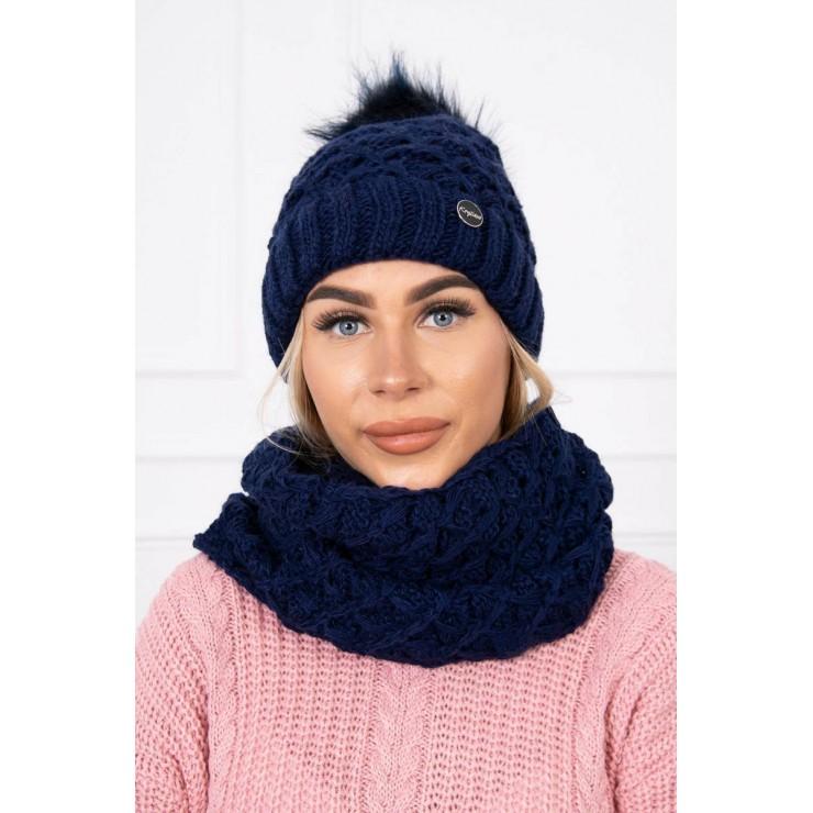 Women's Winter Set hat and scarf  MIK135 dark blue