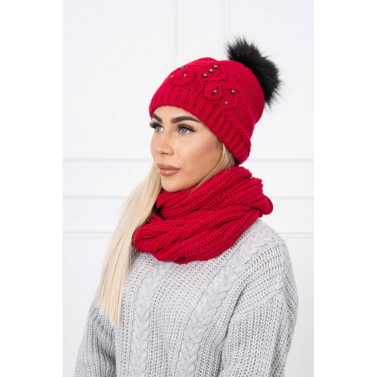 Women's Winter Set hat and scarf  MIK130 red