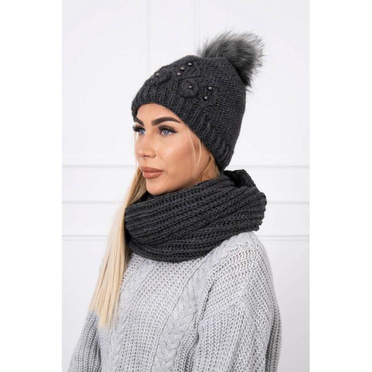 Women's Winter Set hat and scarf  MIK130 graphite